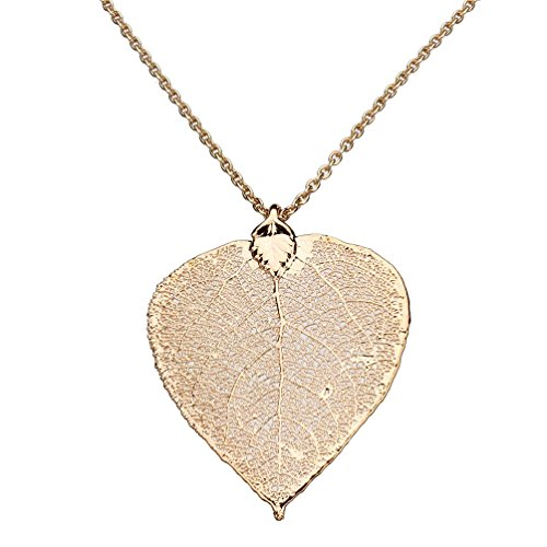 - Joyful Creations Rose Gold-Plated Aspen Leaf Pendant, Rose Goldtone Cable Chain Necklace, 20