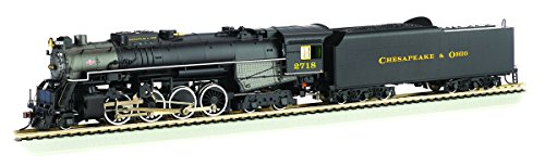 4 4 Steam Locomotives 8 - Bachmann 2-8-4 Berkshire Steam Locomotive & Tender - DCC Sound Value Equipped C&O Kanawha #2718 - HO Scale