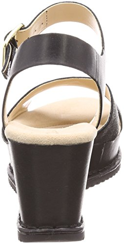 Caviglia Cinturino Sandali Akilah Black Leather alla Nero Clarks Eden Donna con wTxAUCwn