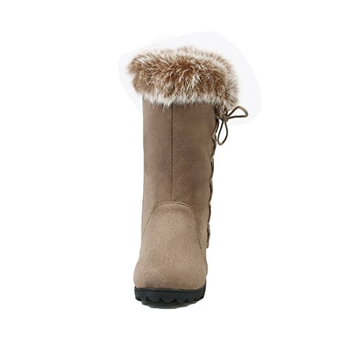 Apricot AdeeSu Frosted Fur Collar Ladies Boots Weaving Cross Chunky Heels ArvAwxq