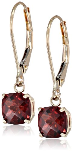 10k Yellow Gold Cushion-Cut Checkerboard Garnet Leverback Earrings (6mm)