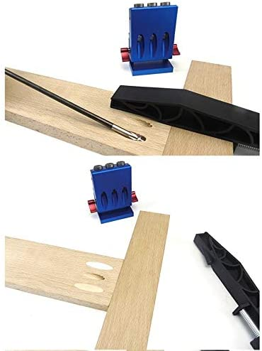 Azul XK-3 Kit de plantillas de orificios de bolsillo Localizador de orificios oblicuos Perforadora de carpinter/ía Abridor de orificios oblicuos Herramienta de muebles de bricolaje para carpinter/ía