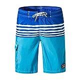 NUWFOR Men's Printed Double Pocket with Back Zipper Pocket Elastic Beach Pants(Light Blue,US S Waist:29.92-39.37'')