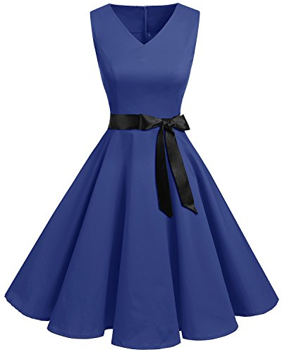 Bridesmay Women's V-Neck Audrey Hepburn 50s Vintage Elegant Floral Rockabilly Swing Cocktail Party Dress Royal Blue 4XL