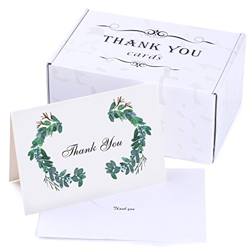 50 Thank You Cards Bulk - Thank You Notes - Blank Note Cards with Self Seal Envelopes - Perfect for Business, Wedding, Gift Cards, Graduation, Baby Shower, Funeral