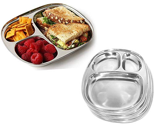 (Stainless Steel Three Compartment Oval Plate, Thali, Mess Tray, Dinner Plate Set of 4 pcs)