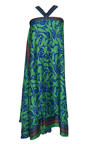 (Womens Green Wrap Skirt Magic Silk Sari Tie Long Skirts Cover up S/M/L)