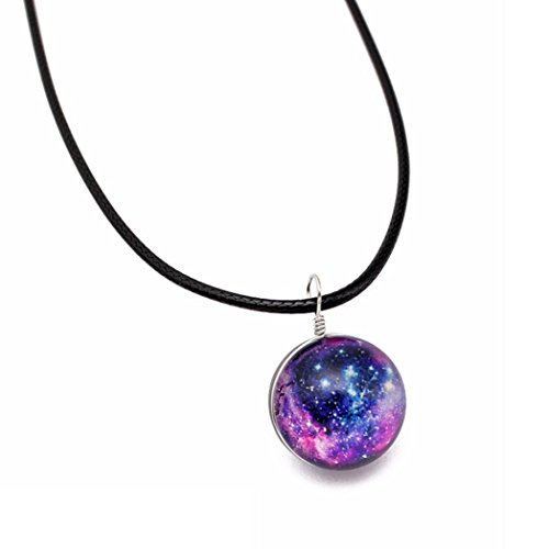 YJYdada Retro Galaxy Glass Ball Pendant Necklace Glow in the dark Star Universe Choker (E)
