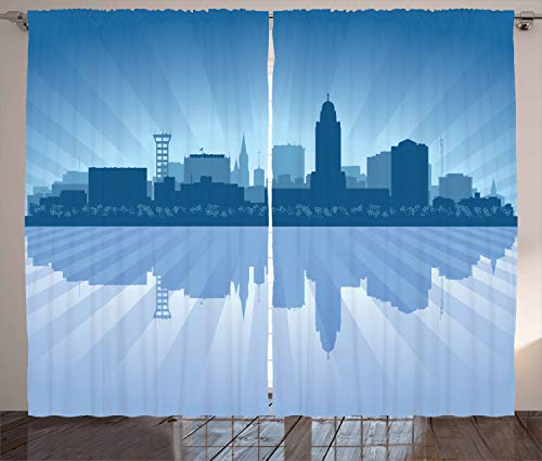 Ambesonne Nebraska Curtains, Lincoln City Skyline Silhouette Illustration in Blue Metropolis Buildings, Living Room Bedroom Window Drapes 2 Panel Set, 108 W X 96 L Inches, Blue and Ceil Blue -