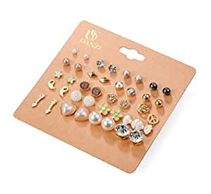 cyntan Ladies Fashion Earrings Stud Assorted Multiple Earring Sets Shaped Flower Crystal Pearl Ball Heart