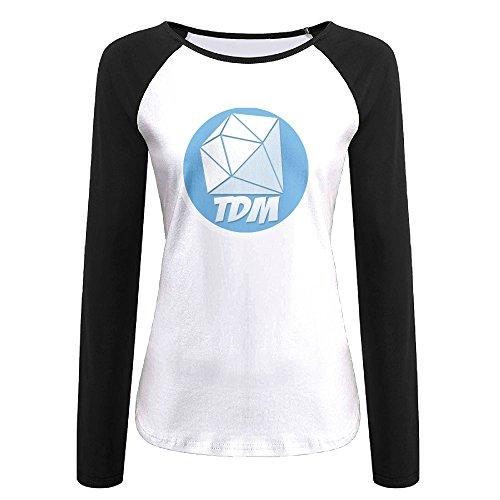 Creamfly Womens TDM Diamond Mine Long Sleeve Raglan Baseball Tshirt S