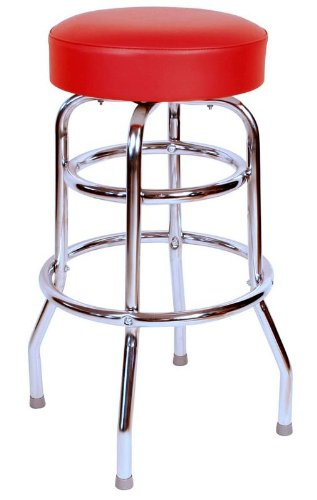 Rung Swivel Fabric Bar Stool - Richardson Seating 0-1952RED Double Rung Backless Swivel bar Stool with Chrome Frame, Red, 30