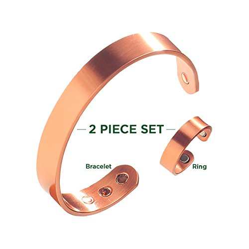 Earth Therapy Elegant Pure Copper Magnetic Ring & Bracelet for Arthritis Relief, 2.0 Ounce Magnetic Rings Bracelets