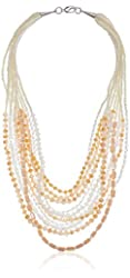 Panacea Ivory and White Crystal Statement Strand Necklace, 20''