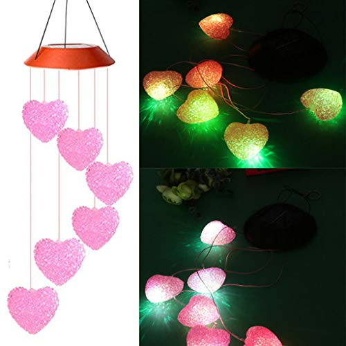 (Outdoor Solar Powered Lights Wind Chime, Hanging Heart Shape Color Changing LED Spinner Lamp Solar Lights Outdoor for Home, Yard, Patio, Garden Decor (B))