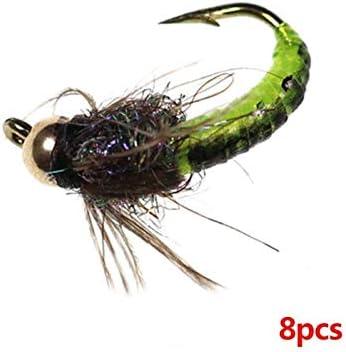 Llm-lure, 8 Unids/Pack Pesca con Mosca Gancho Hielo Seda NINFA Insecto Cebo Bronce Hombro Cabeza Rápida Volando Oruga Carpa Artificial Succión (Color : Light Grey): Amazon.es: Hogar