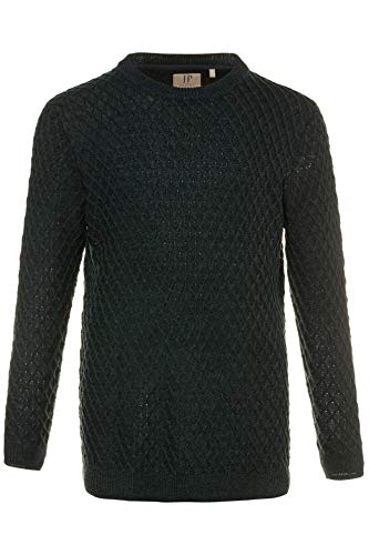 - JP 1880 Men's Big & Tall Chunky Knit Cross Stitch Sweater Dark Green Melange Large 711354 40