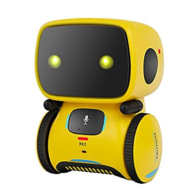 YouJiaBest Robot Toy; Suitable for Children; Interactive Dialogue; Touch Sensing; Speech Recognition; Voice Recording; Fun Light; Dancing; Rotating