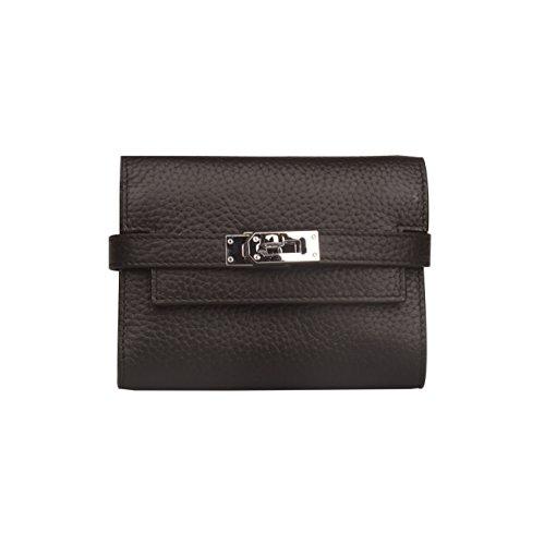 0.5' Luggage Lock - Anifeel Women's Padlock Genuine Leather Short Wallets Purse Billfold (Black)