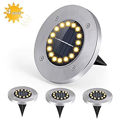 SUNNY-Y Solar Ground Lights,16 LED Bulbs Solar Disk Lights Outdoor Waterproof Solar Garden Lights for Pathway in-Ground Lawn Pathway Yard Walkway-Warm White (4 Pack)