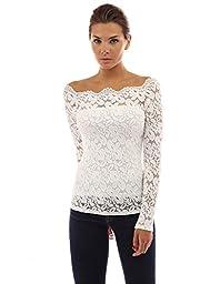 PattyBoutik Women\'s Floral Lace Off Shoulder Top (Off-White L)