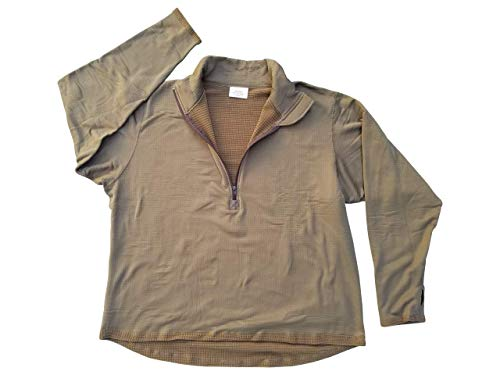 (USMC Genuine Issue Coyote Brown Grid Fleece Quarter Zip Pullover (X-Large))