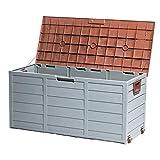 Tiptiper Deck Box, 79 Gallon Deck Storage Box Outdoor with Lockable Lid, Waterproof Outdoor Storage Container for Patio, Garage, Backyard (Brown)