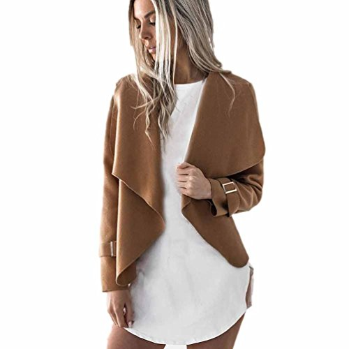 Paymenow Women's Casual Solid Long Sleeve Lapel Outwear Trench Short Coat Cardigan (L, Khaki)