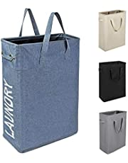 Chrislley 45L Slim Laundry Hamper with Handles Small Collapsible Laundry Basket Tall Thin Laundry Hamper Narrow Clothes Hampers for Laundry (Slim 22 Inches, Blue)