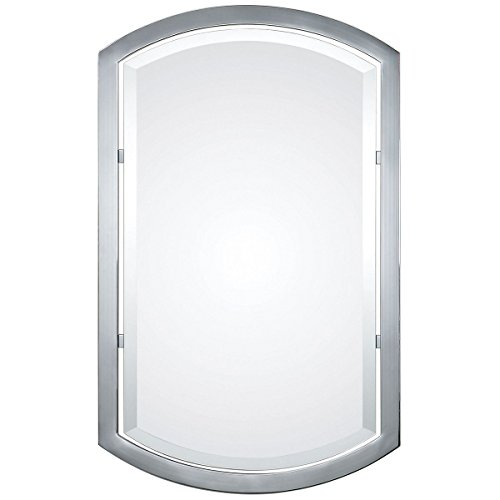 Silver Sleek Art Decor Chrome Rectangle Beveled Wall Mirror