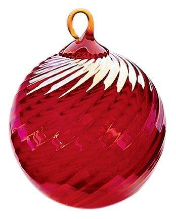 (Red Co. Iridescent Glass Eye Studio Hand Blown Ball Ornament, Ruby Twist)