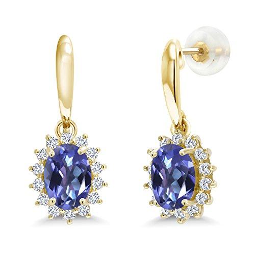 (1.85 Ct Oval Blue Mystic Topaz I/J Lab Grown Diamond 10K Yellow Gold Earrings)