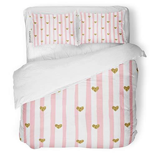 SanChic Duvet Cover Set Gold Cute Pink Stripes Hearts Valentine's Day Love Pastel Decorative Bedding Set Pillow Sham Twin Size