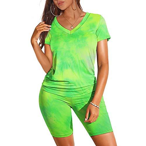 Two Piece Outfits for Women,Women's Tie Dye 2 Piece Shorts Set for SummerV Neck Shorts Sleeve T Shirts Set Jumpsuit Rompers Outfit Clubwear Sportswear Tracksuit Set