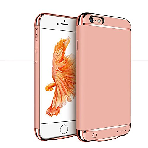 iPhone 6 / 6S Battery Case, F.Dorla Ultra thin Extended Rechargeable Protective Protable Slim Case with 2500mAh Capacity / 110% Extra Battery,Fast Chargeing Power Bank (Rose Gold)