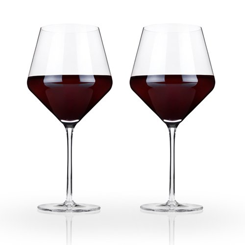 Raye Crystal Burgundy Wine Glass Set by Viski - (Set of 2, 21 oz.)