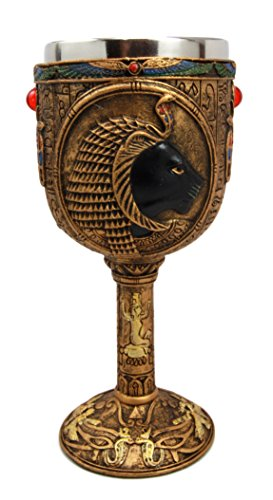 (Ebros Ancient Egyptian Sekhmet Wine Goblet Goddess Of Divine Retribution And War 6oz Resin Chalice With Stainless Steel Liner)