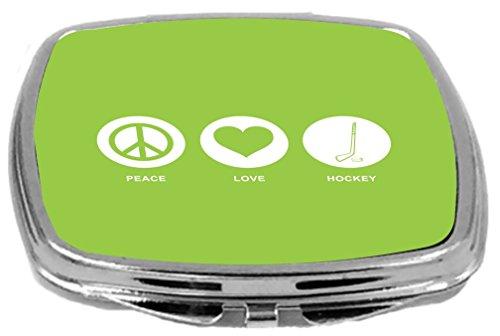 Rikki Knight Peace Love Hockey Design Compact Mirror, Lime Green, 2 Ounce