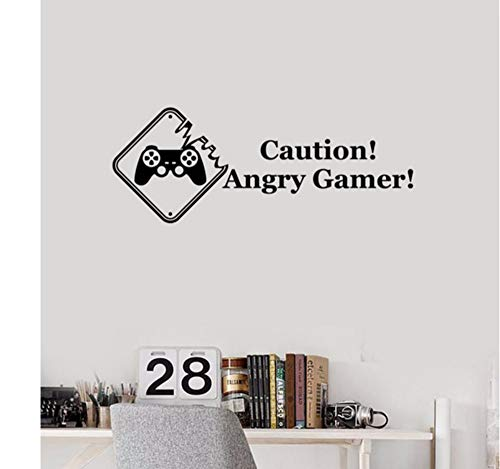 LSFHB 56X22Cm Caution Angry Gamer Wall Stickers Words for Boys Room Playroom Decoration Game Zone Creative Decor Wall Decal ()