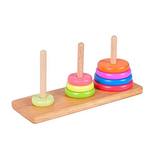 【ノーブランド品】子供 ハノイ おもちゃ 頭の体操 ゲーム ファミリー 楽しい おもちゃ 伝統的 木製の塔