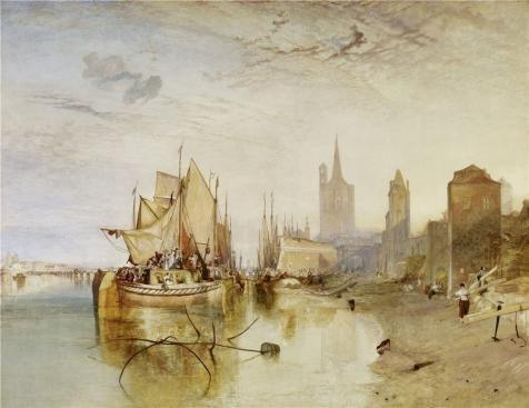 Oil painting ` Joseph Mallord William Turner–Cologne the packet-boatの到着、イブニング、1826`印刷on Perfect effectキャンバス、30x 39インチ/ 76x 99cm、最高のホーム、バスルーム装飾アートワークとギフトはこの高定義アート装飾プリントキャンバスの商品画像