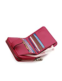 Teemzone Womens Leather Bifold Wallet with Coin Pocket Purse Pouch with Zipper Closure (rose)