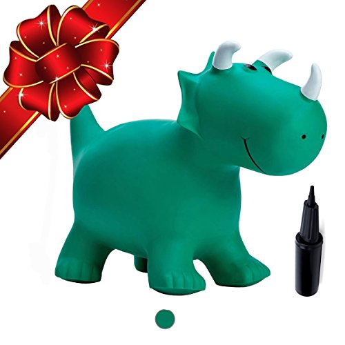 Babe Fairy Jumping Horse With Pump Hopper Horses Jumping Animals Hopper Inflatable Ride On Green Dinosaur Toys For Kids Jumping Horse For Outdoor Indoor Game Green Dinosaur