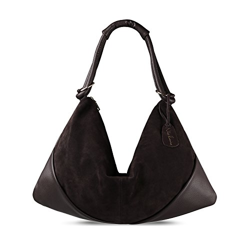Suede Leather Hobo - Nico Louise Suede Leather Hobo Bag Top Handle Women Dumpling Bag Large Handbag (Deep Coffee)