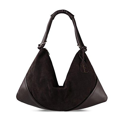 Nico Louise Suede Leather Hobo Bag Top Handle Women Dumpling Bag Large Handbag (Deep - Hobo Leather Suede