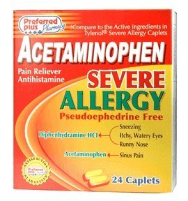 Preferred Plus Pharmacy Acetaminophen Severe Allergy Caplets - 24 Ea