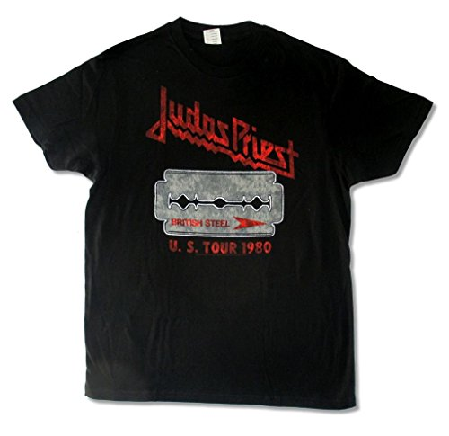 Judas Priest British Steel US Tour 1980 Mens Black T Shirt - S Fashion 1980