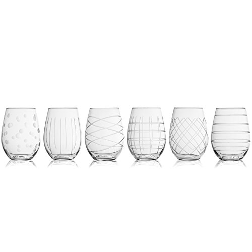 Medallion Stemless Wine Goblets, Set of 6