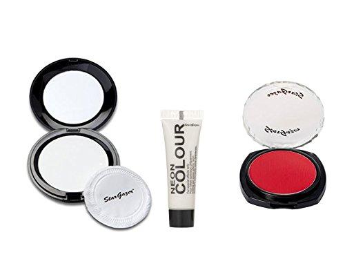 Stargazer Halloween Set White Pressed Powder, Red Eyeshadow & White Body Paint
