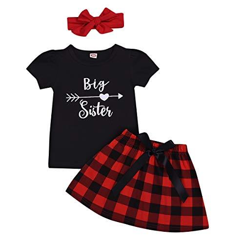 Newborn Infant Kids Big Little Sister Matching Romper T-Shirt Plaid Skirt Bowknot Headband Outfits Summer Set (BigS, 4-5T)